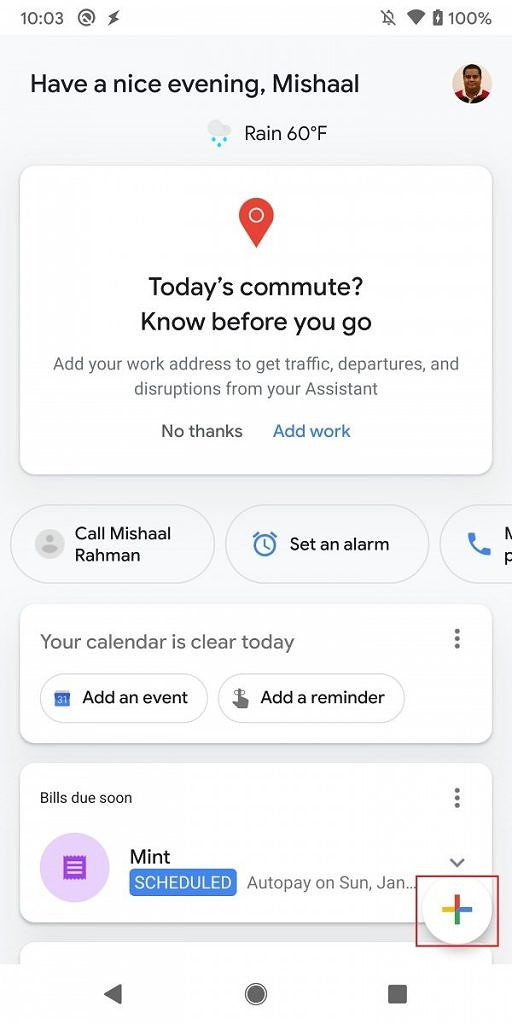 Quick actions in daily updates