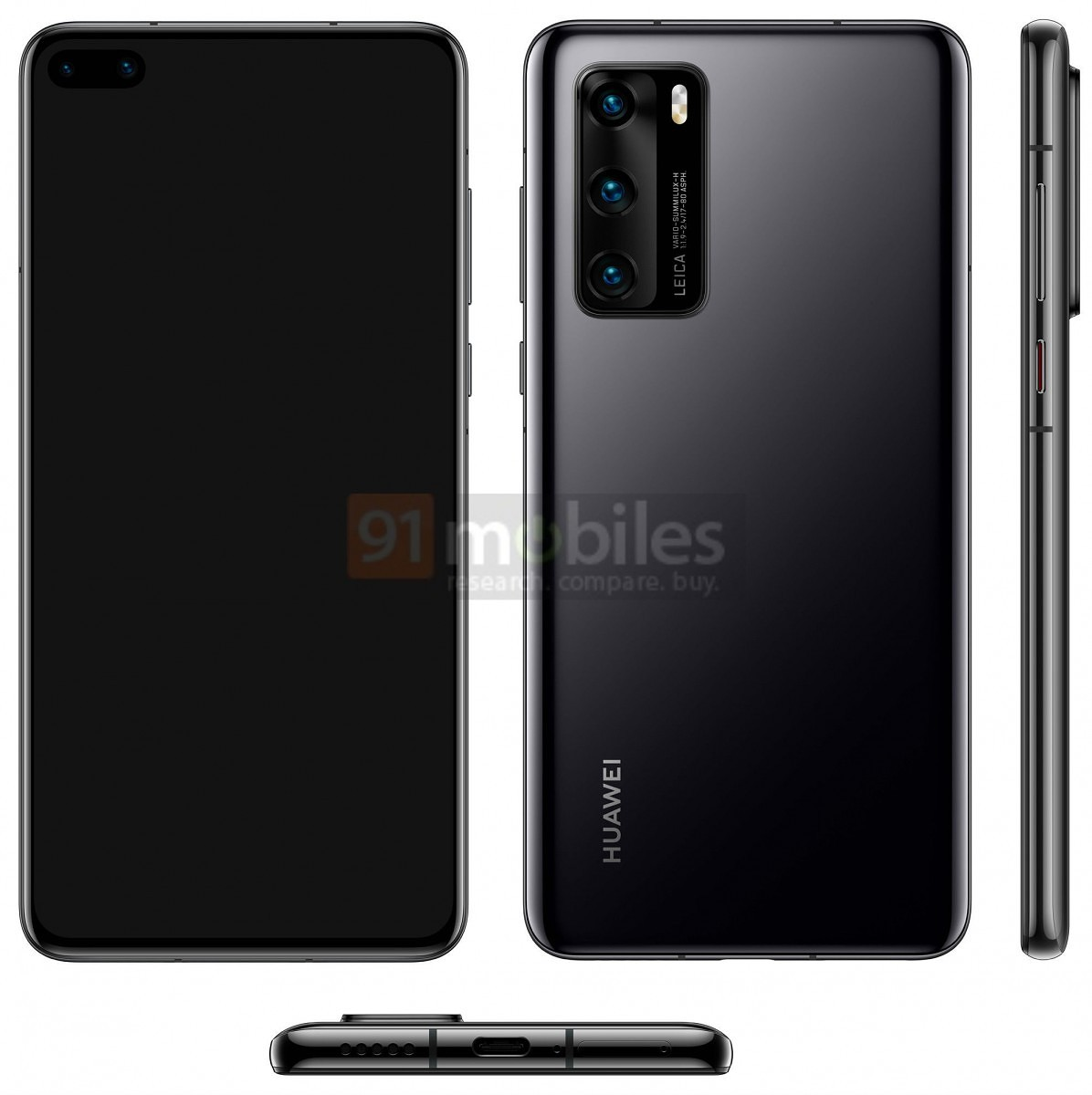 [Update: Colors] Huawei P40 leaked render shows off dual punch-hole front cameras and Leica-branded triple rear cameras