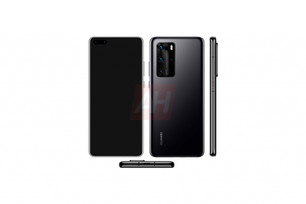 Huawei P40 Pro leaked render shows off quad cameras, curved display