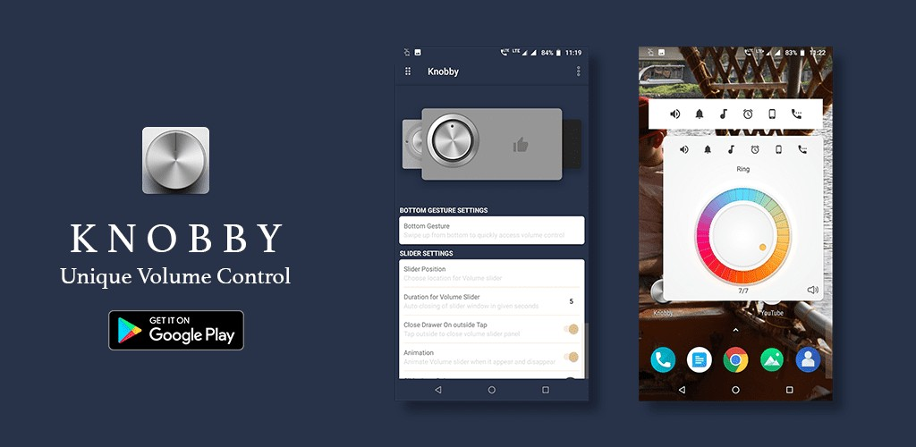 Knobby Volume Control turns your Android phone's volume slider into a volume control knob