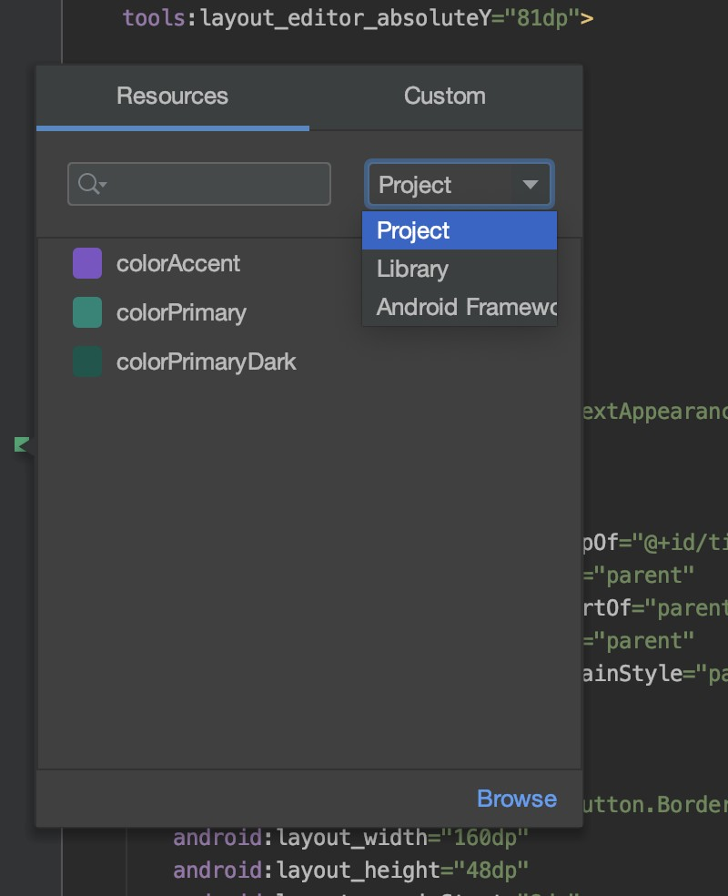 Android Studio 3.6 color picker resources tab