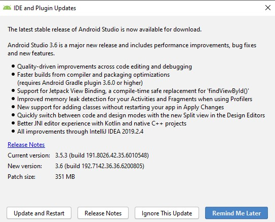Android Studio 3.6 changelog