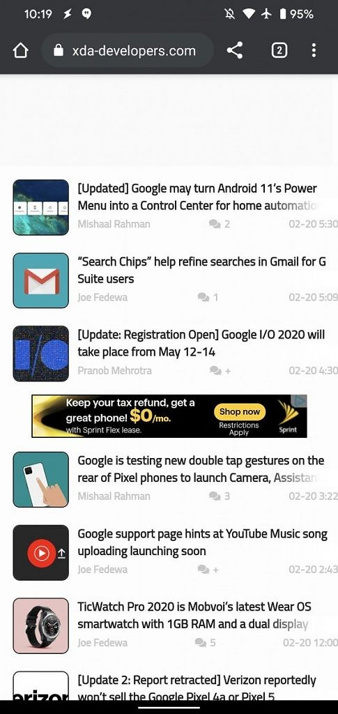 Chrome test adds a new share button to the top toolbar