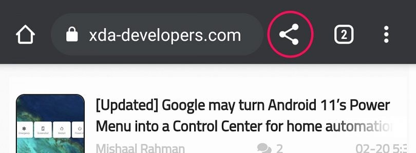 New Google Chrome test adds a share button to the top toolbar