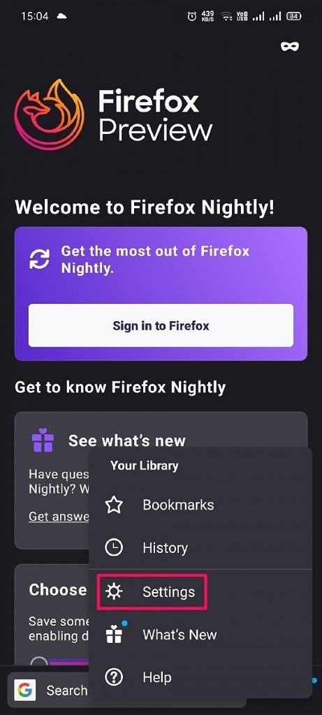 Firefox Preview extensions