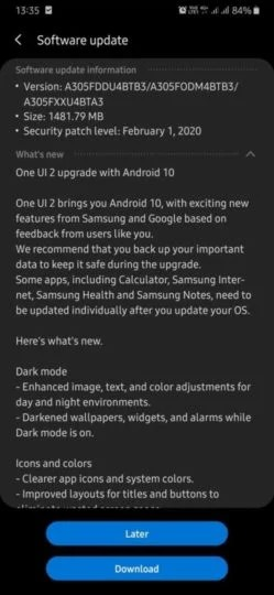 Samsung Galaxy A30 Android 10/One UI 2.0 update