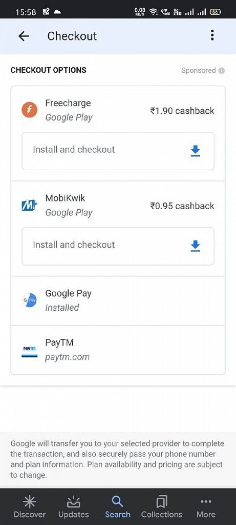 Google Search prepaid recharge