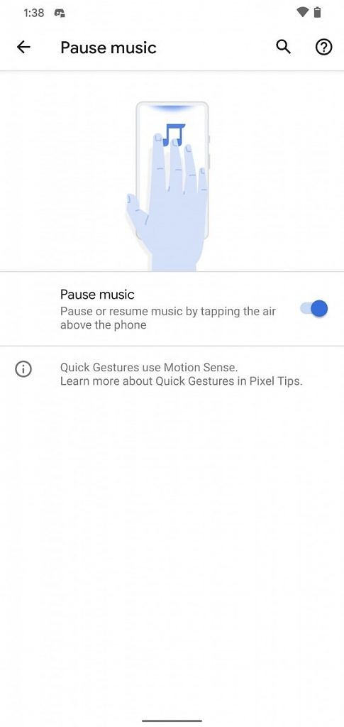 """<p>When Google announced the Pixel 4, one of the main things they showed off was Motion Sense. These are air gestures using Google's proprietary Soli chip. It is basically a miniature radar chip built into the phone. At launch, it could control music by skipping tracks and it could detect when you were picking up</p> <p>The post <a rel=""""nofollow"""" href=""""https://www.xda-developers.com/android-11-new-motion-sense-gesture-pause-music-pixel-4/"""">Android 11 adds a new Motion Sense gesture to pause music on the Pixel 4</a> appeared first on <a rel=""""nofollow"""" href=""""https://www.xda-developers.com/"""">xda-developers</a>.</p>"""