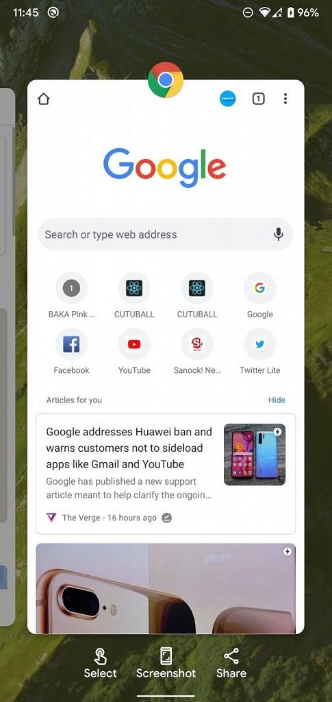Pixel Launcher recent apps overview test in Android 11 DP1