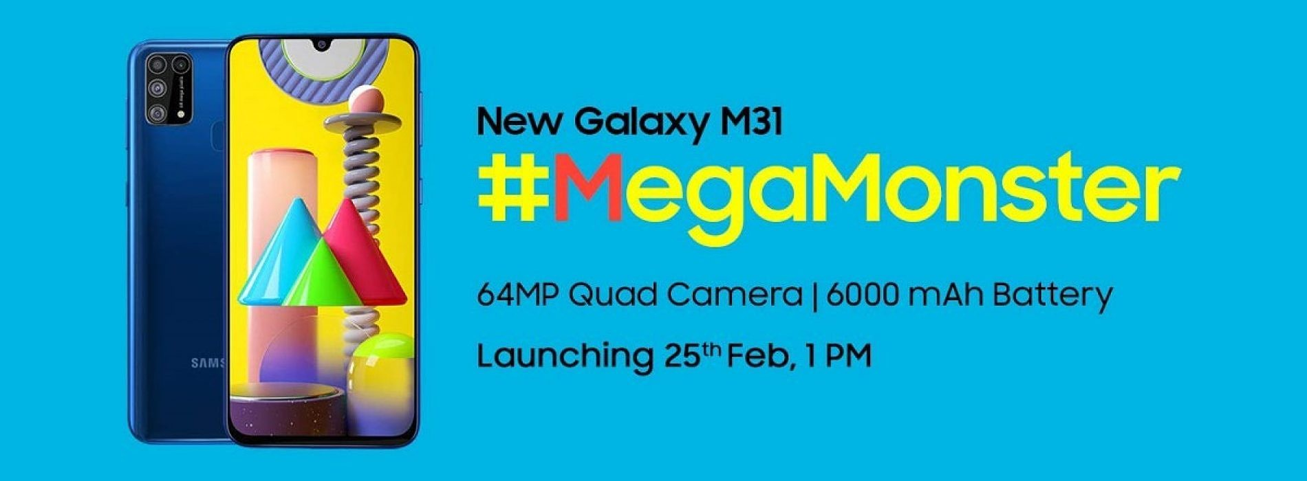 Update Launching On 25th Feb Samsung Teases The Galaxy M31 With A 64mp Camera