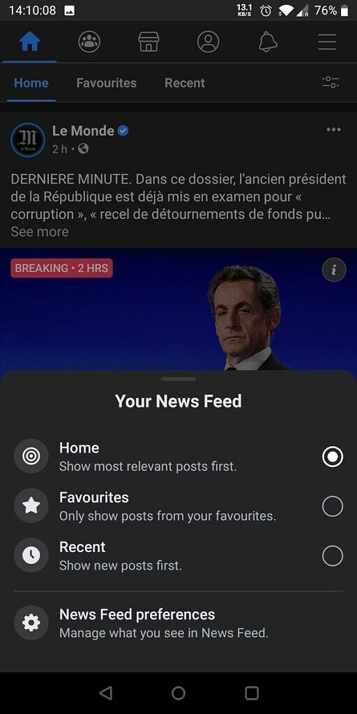 Some Android users are now receiving an update with the new Facebook Tabbed Newsfeed