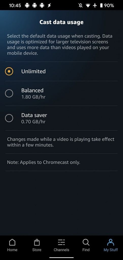 Amazon Prime Video Chromecast data usage