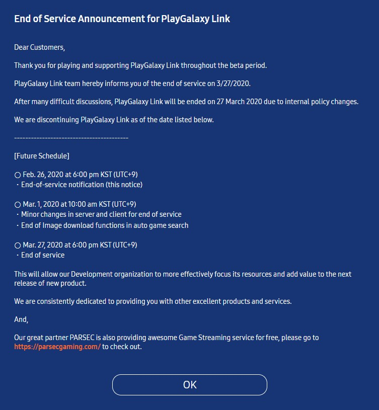 PlayGalaxy Link End of Service announcement