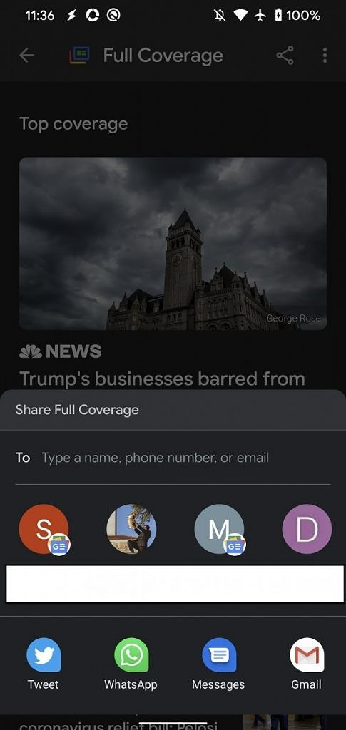 Google News Full Coverage sharing