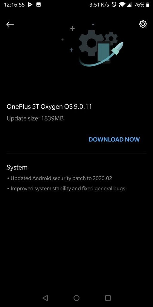 OxygenOS 9.0.11 for OnePlus 5T