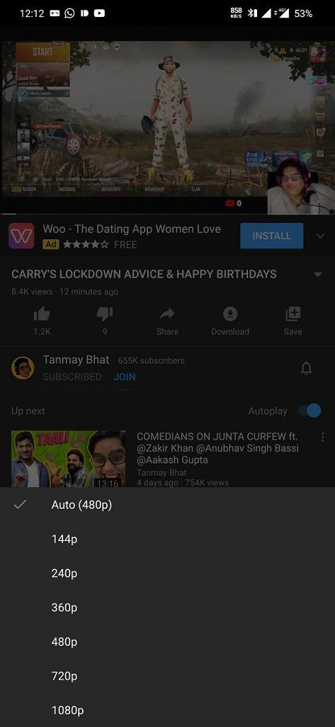 Youtube for Android low streaming quality