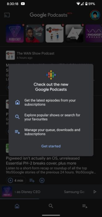 Google Podcasts redesign