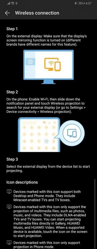 EMUI 9 and Magic UI 2 Easy Projection