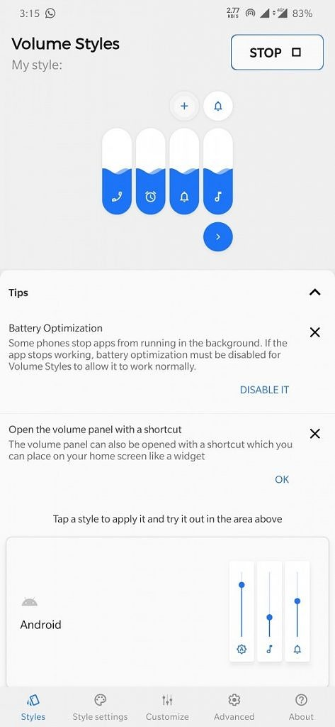 Volume Styles lets you theme Android's volume panel with different styles