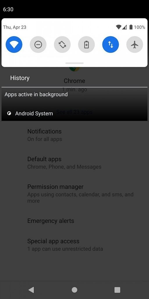 notif panel Features of Android 11 Developer preview