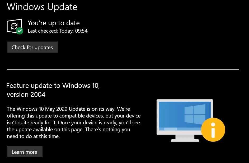 Windows 10 May 2020 update check