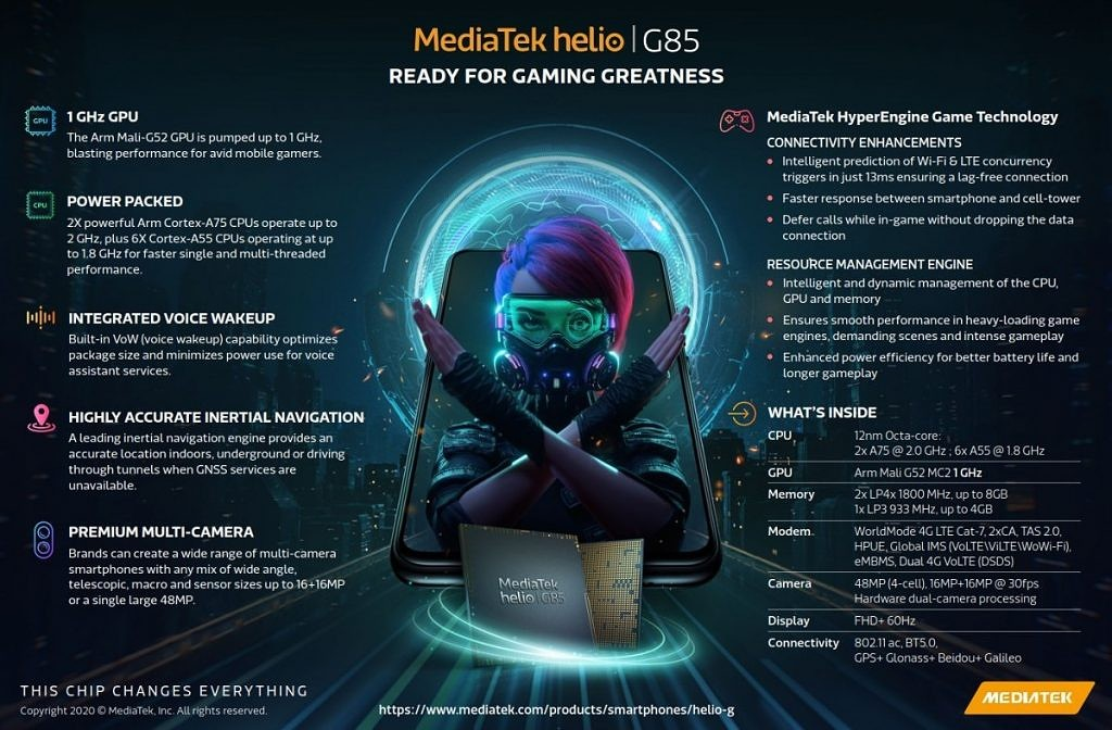 MediaTek Helio G85 Specifications, MediaTek Helio G85 features, MediaTek Helio G85 devices