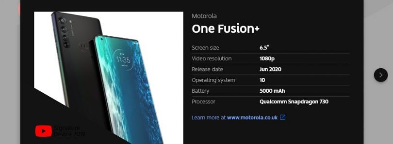 YouTube leaks the Motorola One Fusion+ with the Qualcomm Snapdragon 730, 5,000mAh battery, and June 2020 launch date