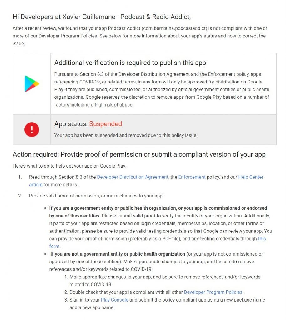Google apologizes for removing the Podcast Addict app