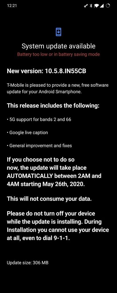 "<p>The T-Mobile OnePlus 8 is receiving its first OxygenOS update in the US.  The update bumps the security patch level, adds support for additional 5G bands, and fixes general bugs. This is a relatively minor update compared to the one rolled out to the unlocked Indian/EU/North American OnePlus 8 units which brought along many enhancements</p> <p>The post <a rel=""nofollow"" href=""https://www.xda-developers.com/t-mobile-oneplus-8-oxygenos-update-google-live-caption-5g-support-bands-2-66/"">T-Mobile OnePlus 8 gets Google Live Caption and 5G support on bands 2, 66 with latest OxygenOS update</a> appeared first on <a rel=""nofollow"" href=""https://www.xda-developers.com/"">xda-developers</a>.</p>"