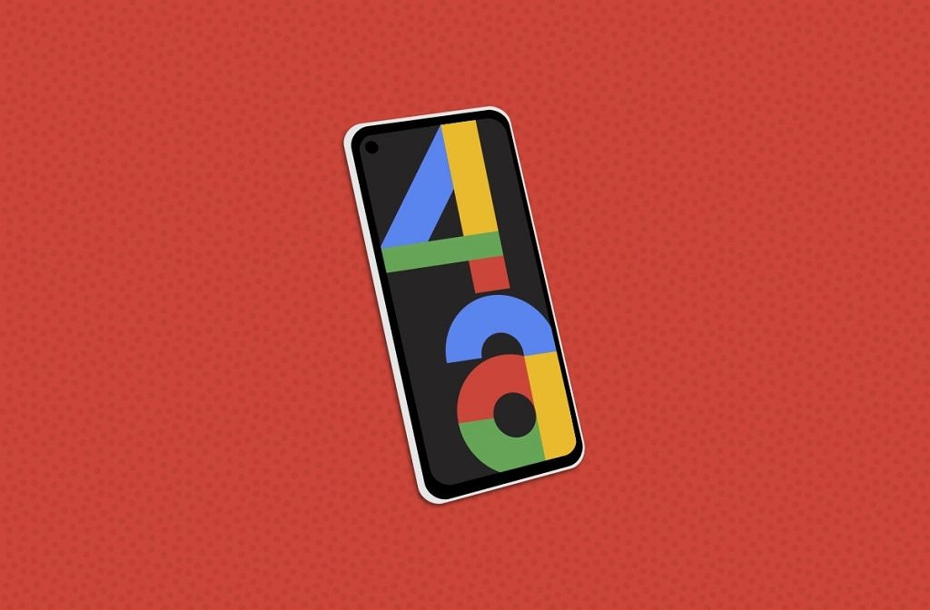 google pixel 4a 5g on a red background