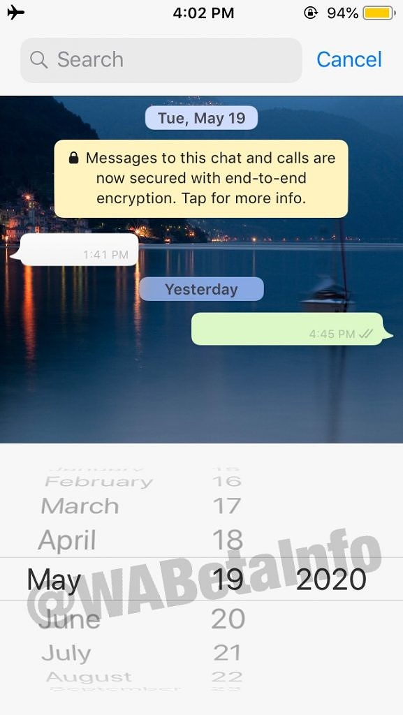WhatsApp search by date