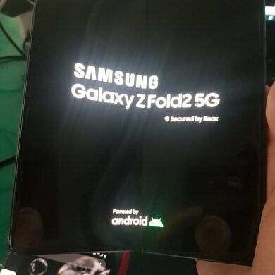 Blurry photo of the Samsung Galaxy Z Fold 2 leaks, showing off the hole-punch display