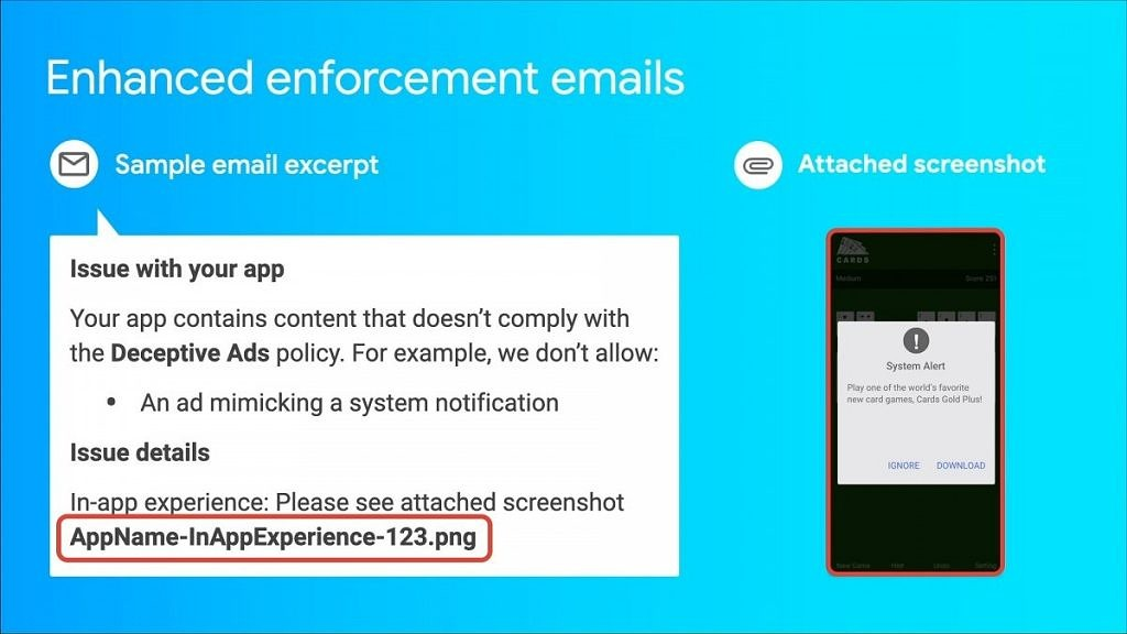 Google Play Developer Console July 2020 policy update detailed violation email