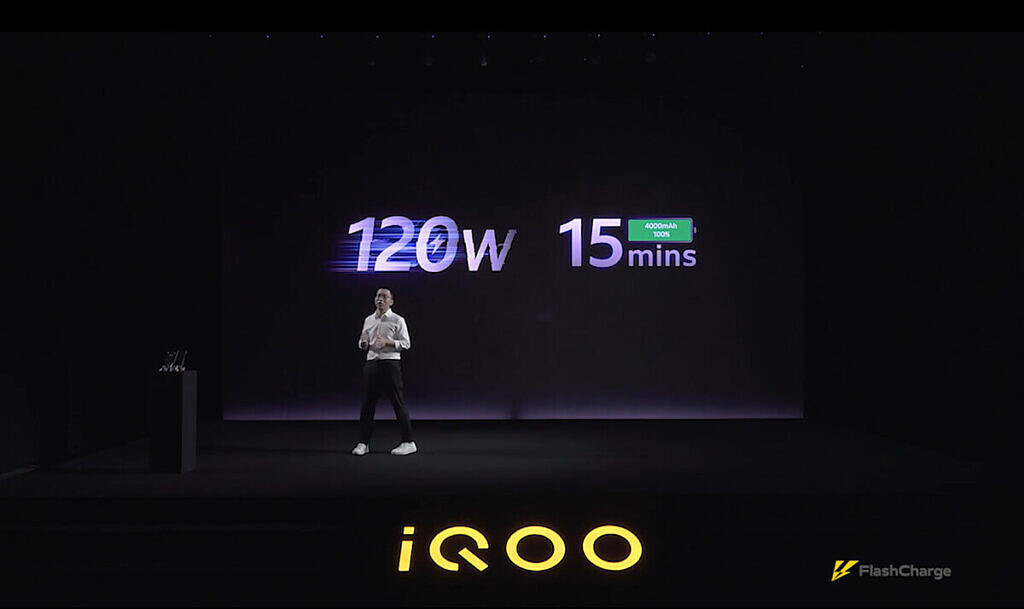iQOO's 120W FlashCharge fast charging solution can fully charge a 4000mAh battery within 15 mins
