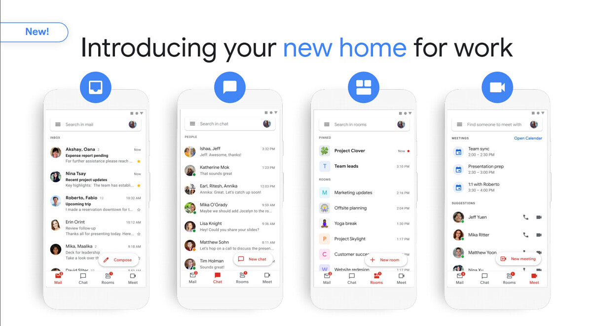 Google rolls out Google Meet, Chat, and Rooms tabs in Gmail for G Suite customers - XDA Developers