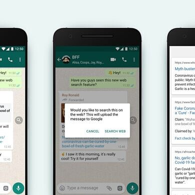 WhatsApp now lets you quickly search Google for forwarded messages