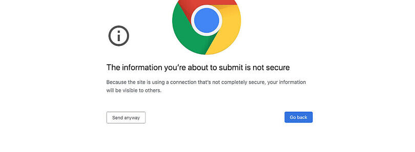 Google Chrome 86 will warn users about filling out insecure forms on HTTPS pages