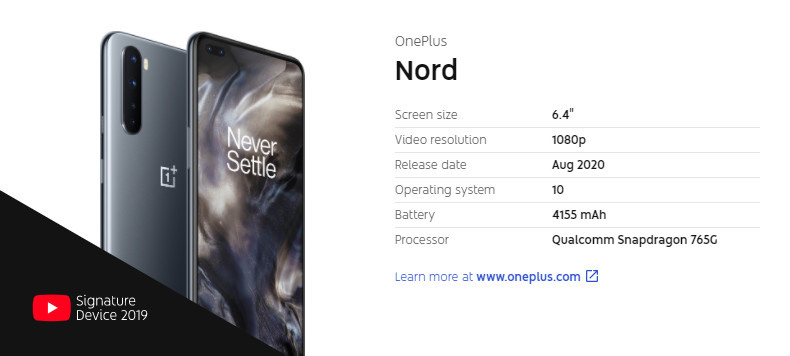 OnePlus Nord YouTube Signature Device