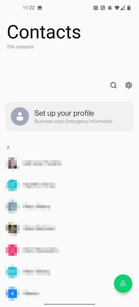 OxygenOS 11 contacts app