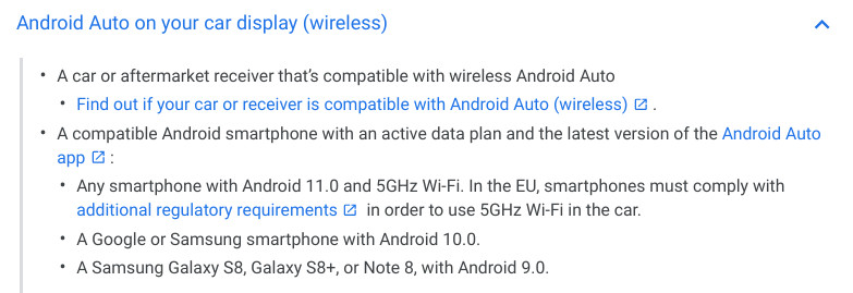 Android Auto wireless Android 11
