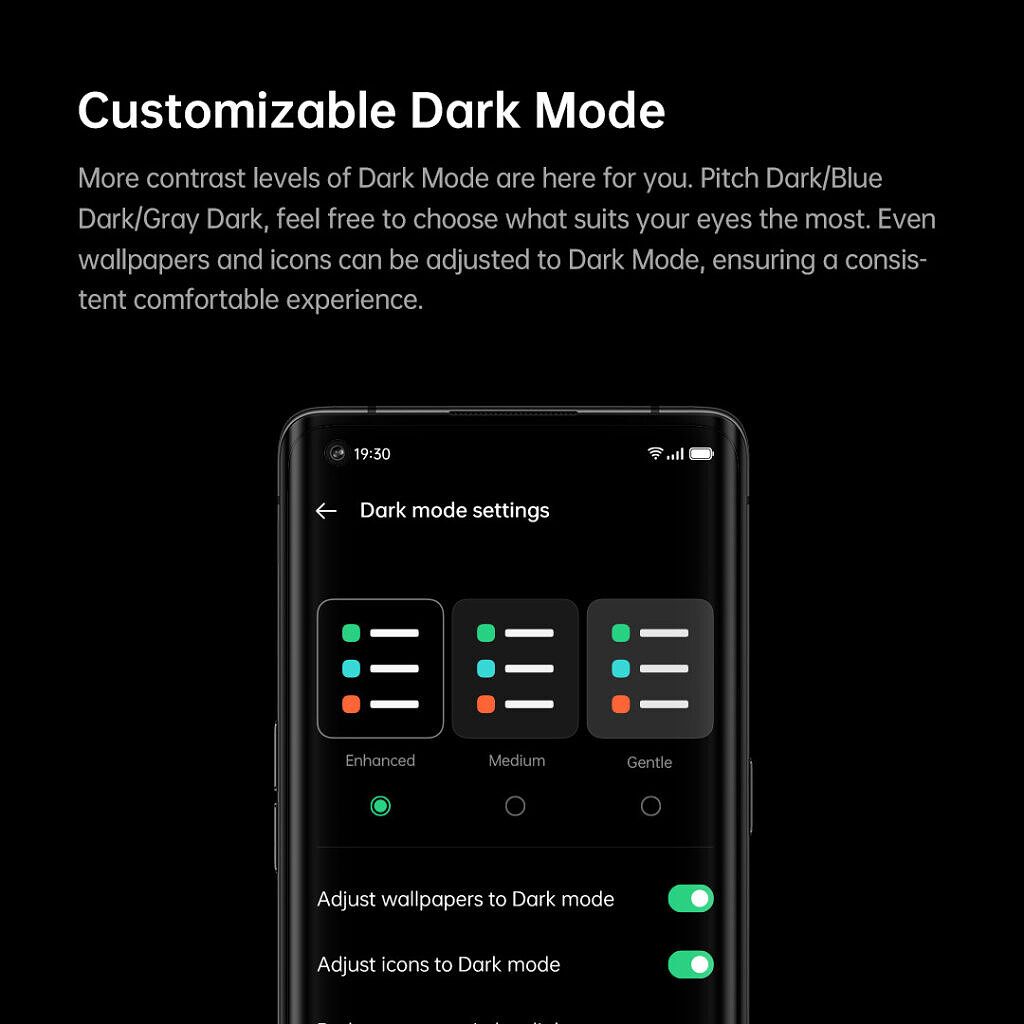 OPPO ColorOS 11 based on Android 11 Customizable Dark Mode