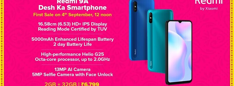 Redmi 9A with MediaTek Helio G25 SoC launched in India for ₹6,799 (~$93)