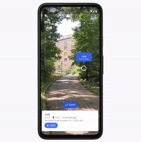Live View with Location Sharing on Google Pixels running Android 11