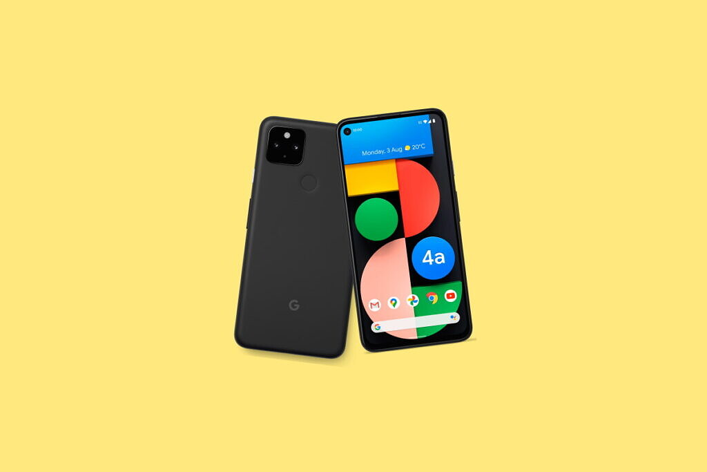 Google Pixel 4a 5G on a yellow background