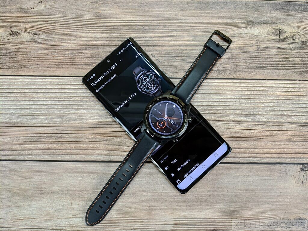 Mobvoi TicWatch Pro 3 on top of LG Velvet