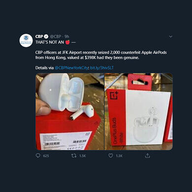 [Update: CBP Doubles Down] US customs seized 2,000 OnePlus Buds thinking they're counterfeit Apple AirPods