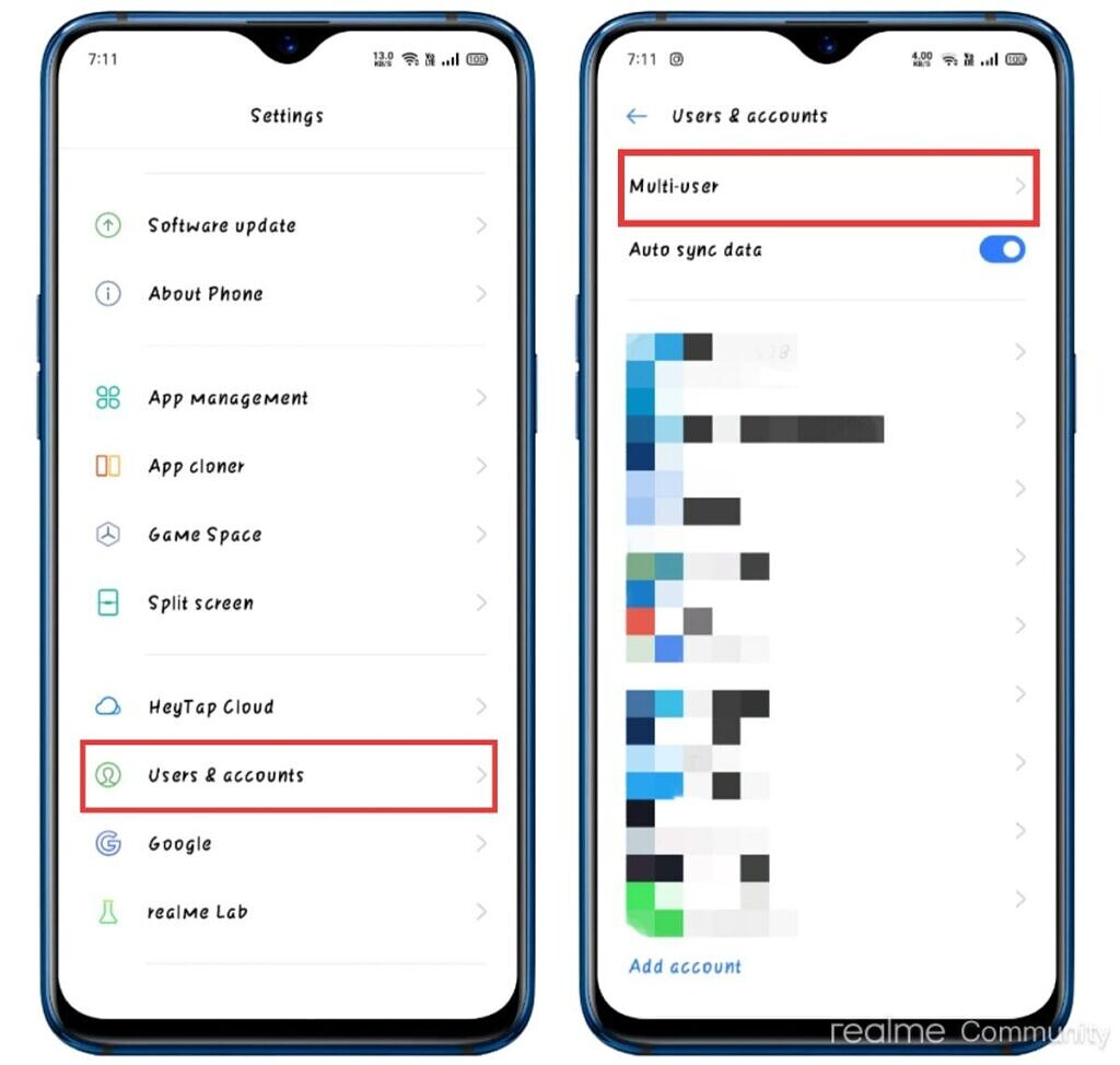 Realme UI multi-user support