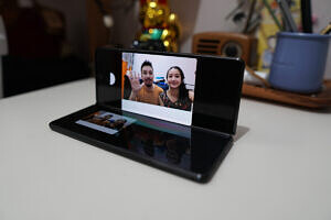 The Z Fold 2 in Flex Mode, which allows video calls.