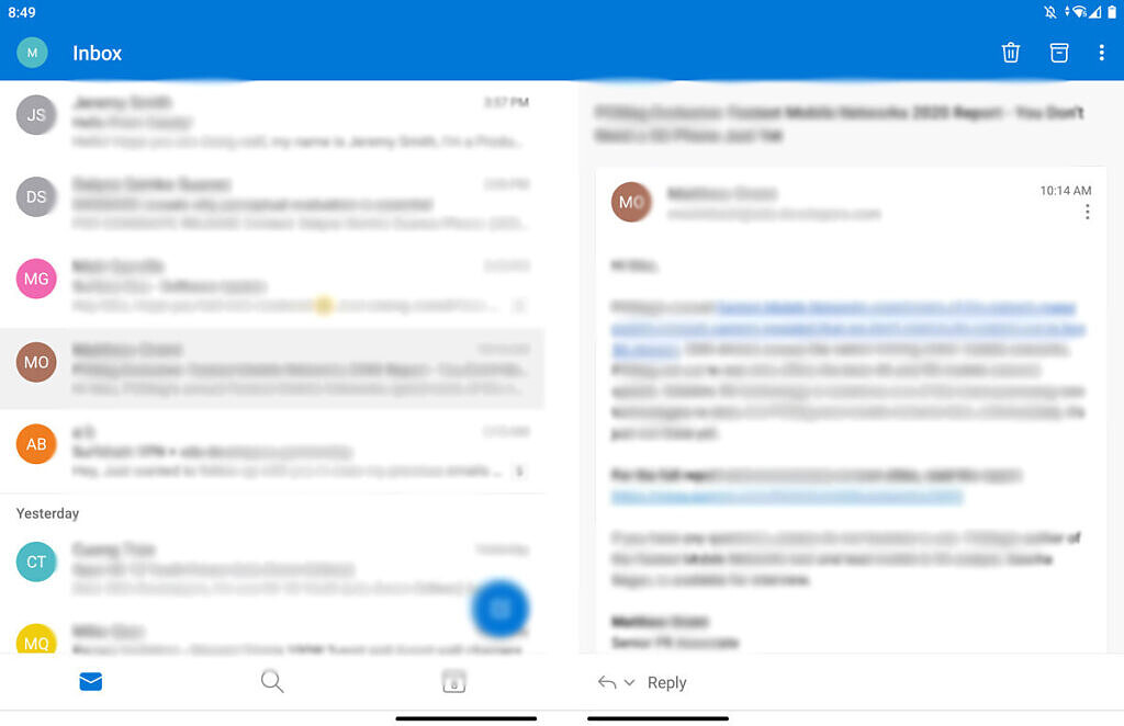 Microsoft Outlook on the Microsoft Surface Duo