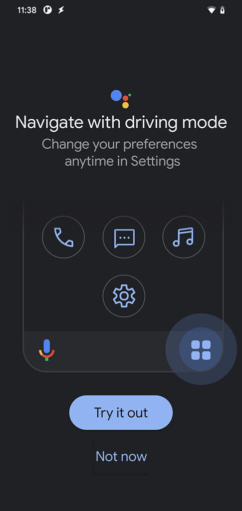 Google Assistant Driving Mode onboarding screen
